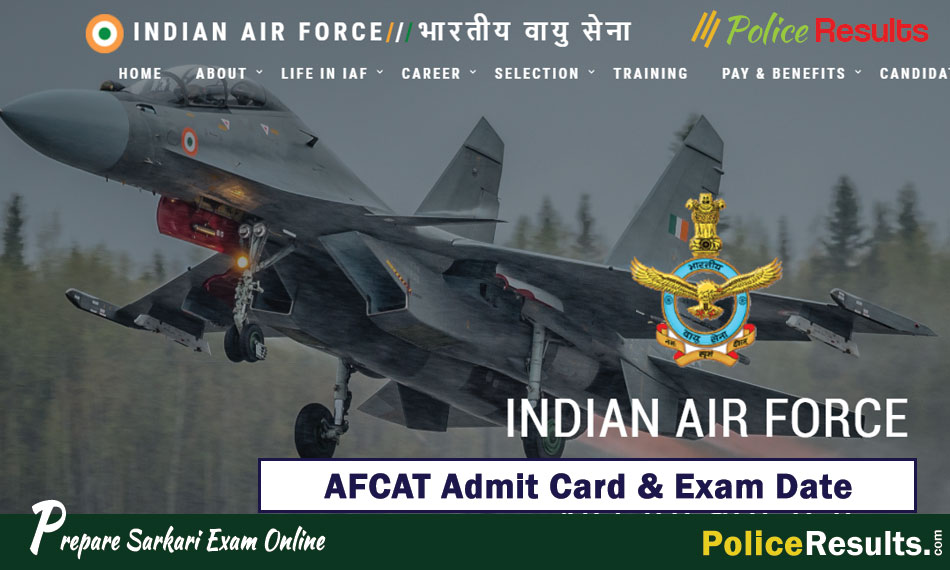 AFCAT Admit Card 2020 Download Exam Date