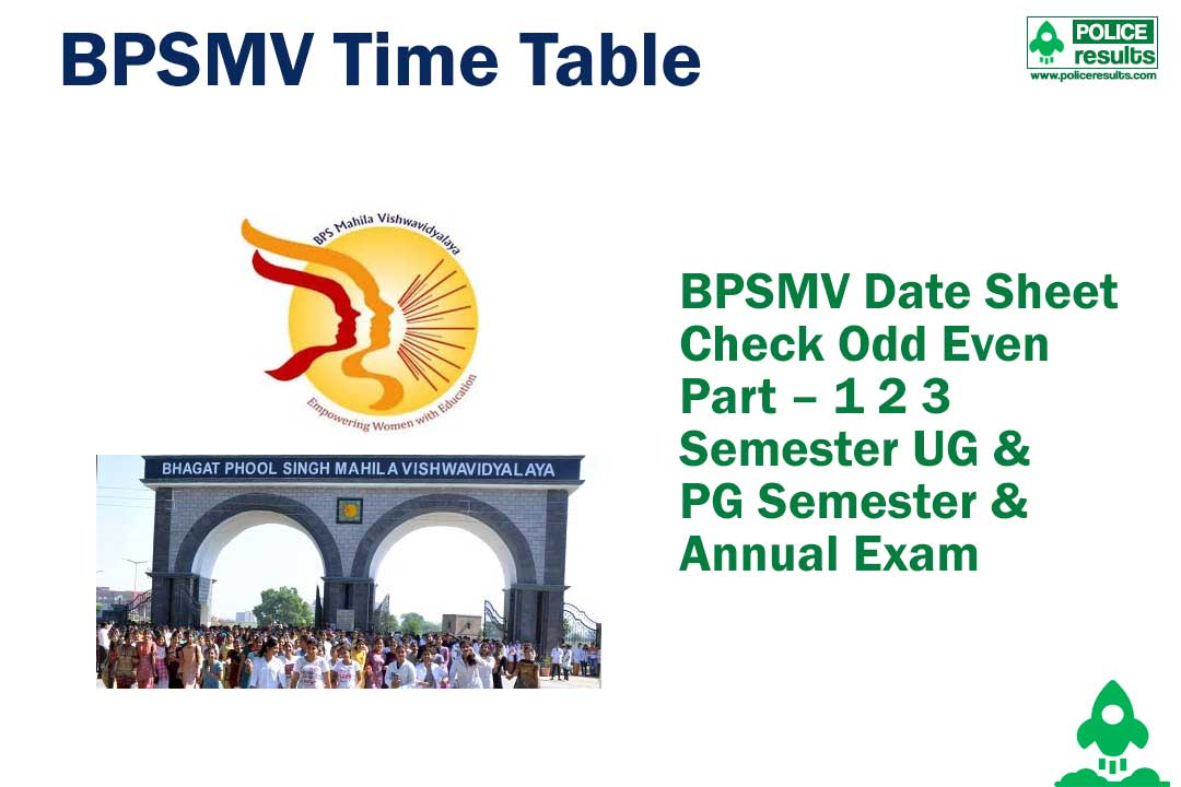 BPSMV Date Sheet 2020 Check Odd Even Part – 1 2 3 Semester UG & PG Semester & Annual Exam