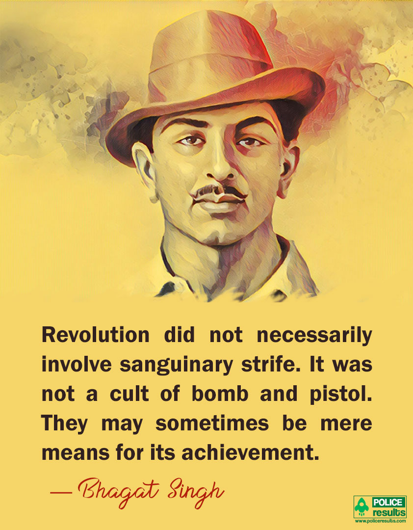 Top 25 Best Inspirational Powerful Quotes By Shaheed Bhagat Singh 23rd March Inspire Everyone Police Results