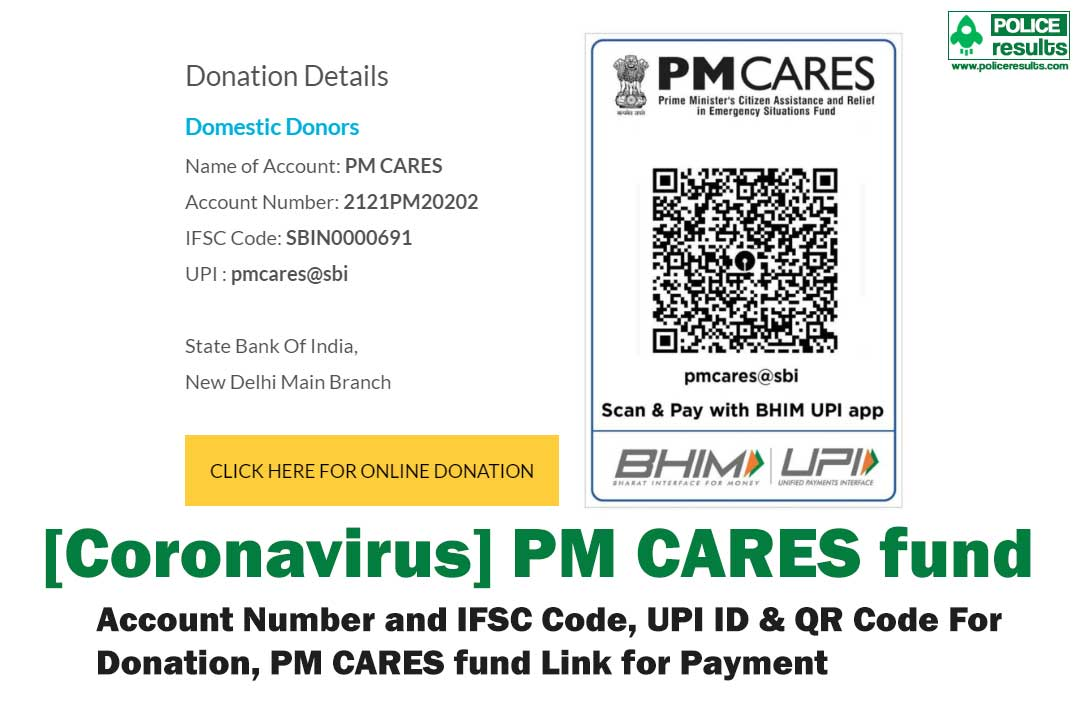 [Coronavirus] PM CARES fund : Account Number and IFSC Code, UPI ID & QR Code For Donation, PM CARES fund Link for Payment