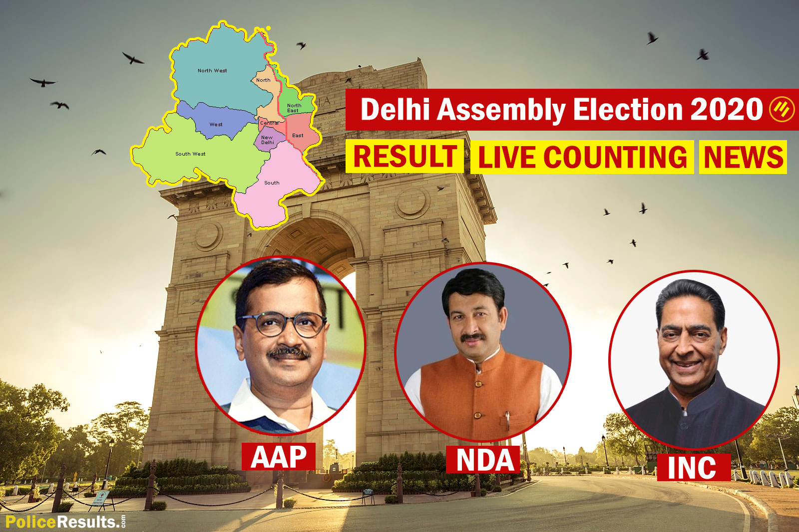 Delhi Election Result 2020 – Live Counting, Constituency Wise, Party Wise (APP, BJP, Congress, JDU, RJD, BSP), Candidates Wise Winner Name List, Latest News Updates