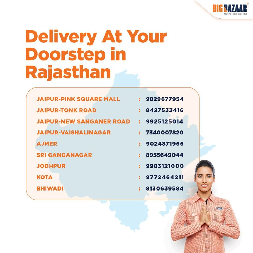 Doorstep Delivery services in Rajasthan - Big Bazaar Home Delivery Mumbai Service Contact Number