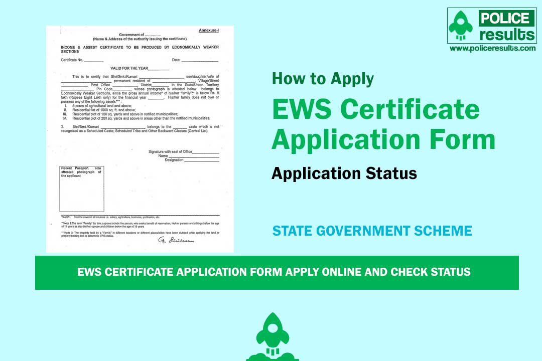 EWS Certificate Application Form Apply Online and Check Status
