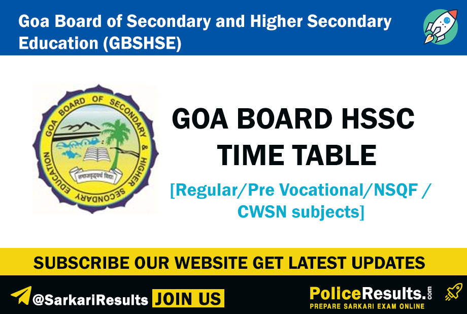 Goa Board HSSC Time Table 2020 (Revised!) – GBSHSE Class 12th Date Sheet