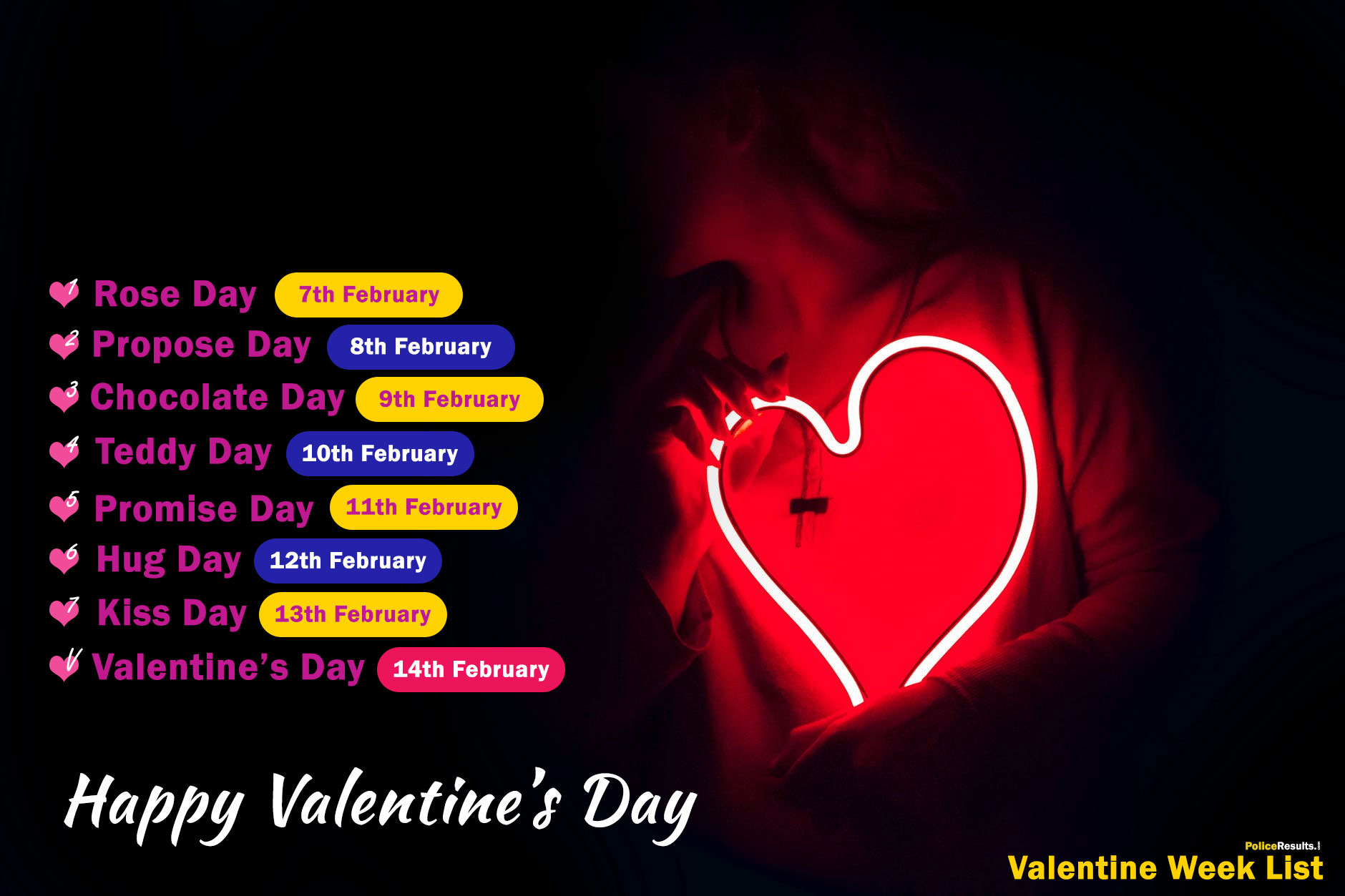 Happy Valentine Day Week List 2020