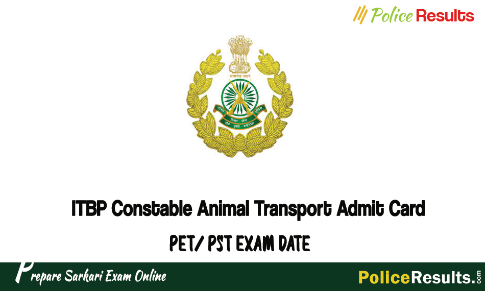 ITBP Constable Animal Transport Admit Card
