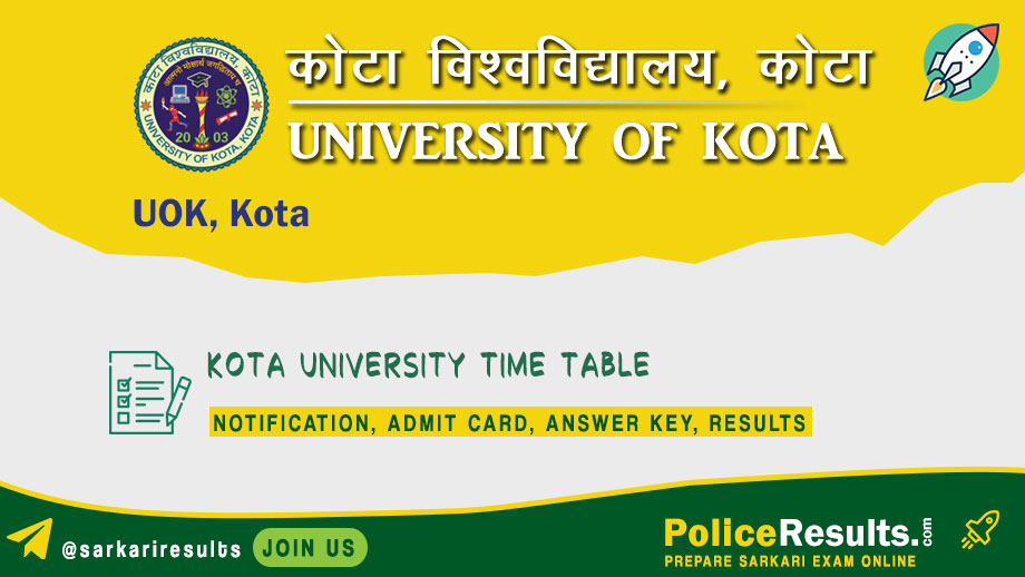 UOK Time Table 2020 – Kota University Date Sheet 2020 BA, BSc, BCom MA Part 1, 2, 3 for Annual & Semester Scheme PDF