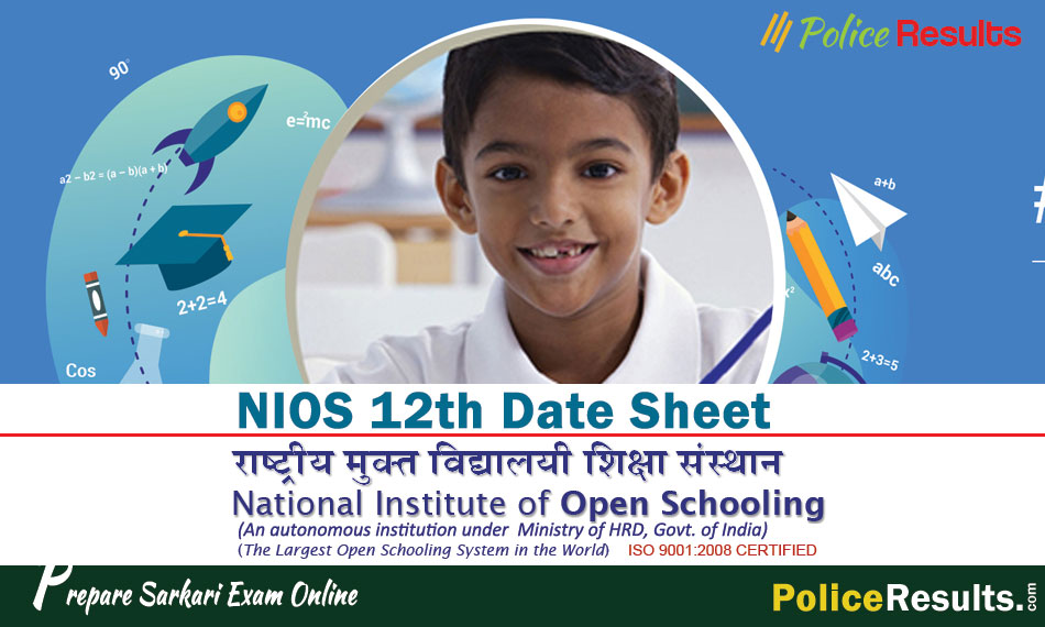 NIOS Date Sheet 2020 Class 12 April Exam Schedule Download here