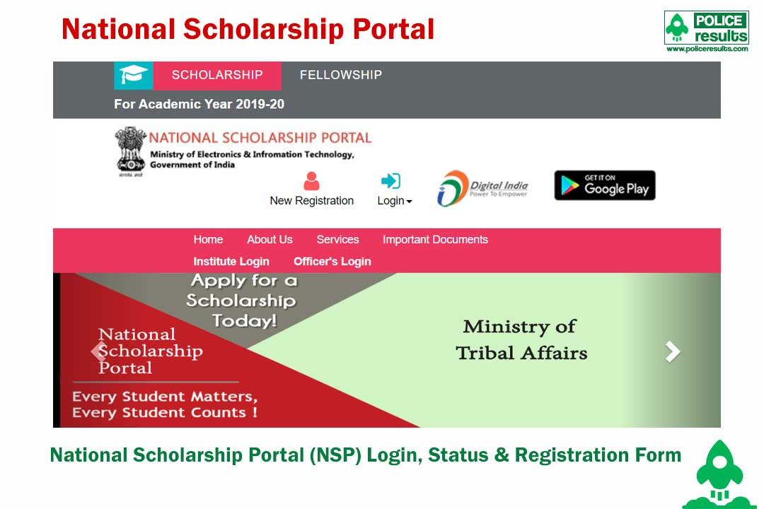 National Scholarship Portal (NSP) Login, Status & Registration Form