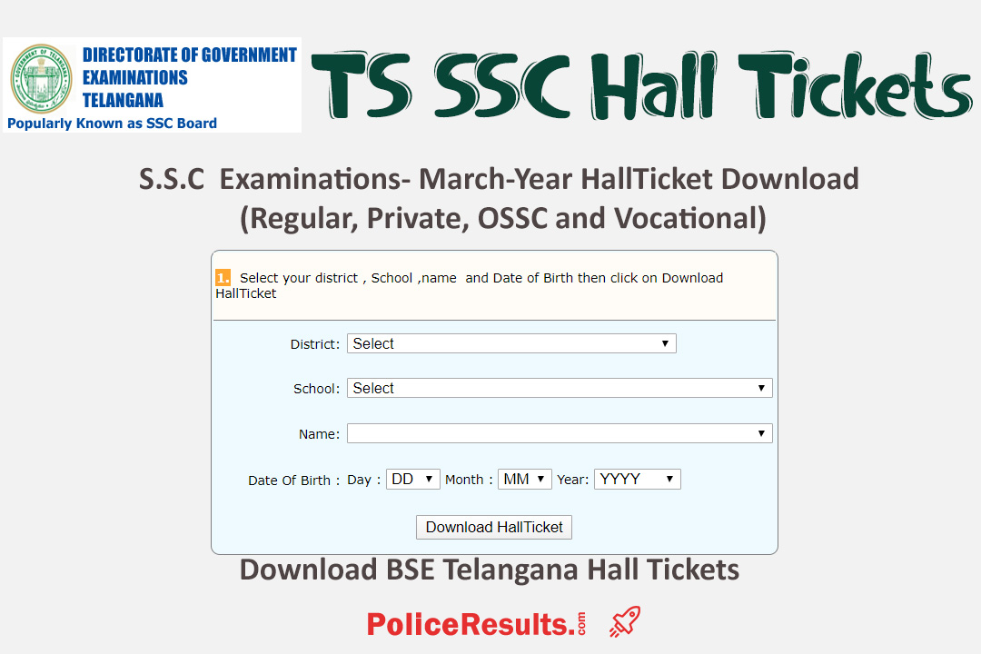 TS SSC Hall Tickets 2020 [Available] – Download BSE Telangana Hall Tickets 2020