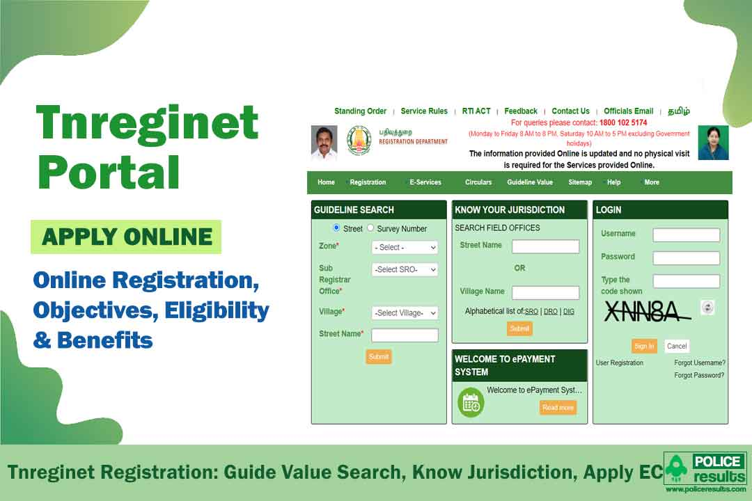 Tnreginet : Login, Online Registration, Guidelines Value Search, Know Jurisdiction, Encumbrance Certificate (EC) Apply & ePayment System