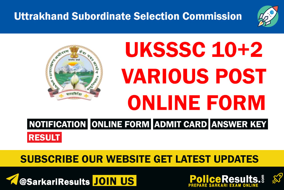 UKSSSC 10+2 Various Post Recruitment
