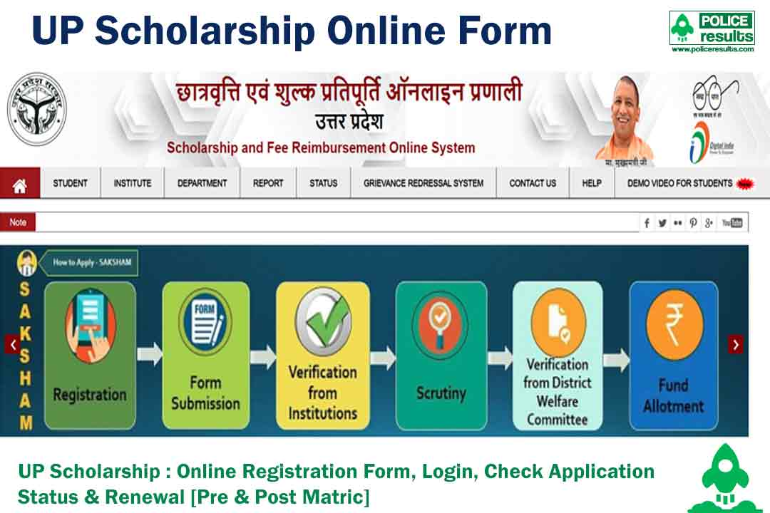 UP Scholarship 2020-21 : Online Registration Form, Login, Check Application Status & Renewal [Pre & Post Matric]