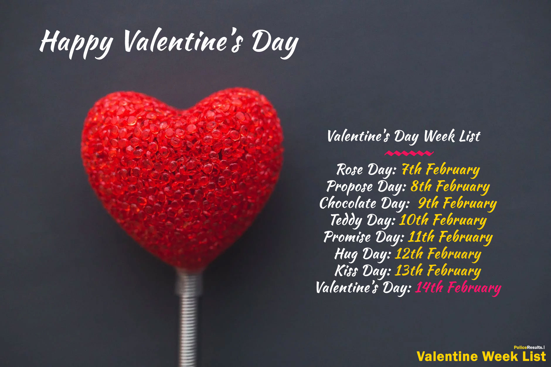 Valentines Day Week List Download PDF Date Sheet Calendar