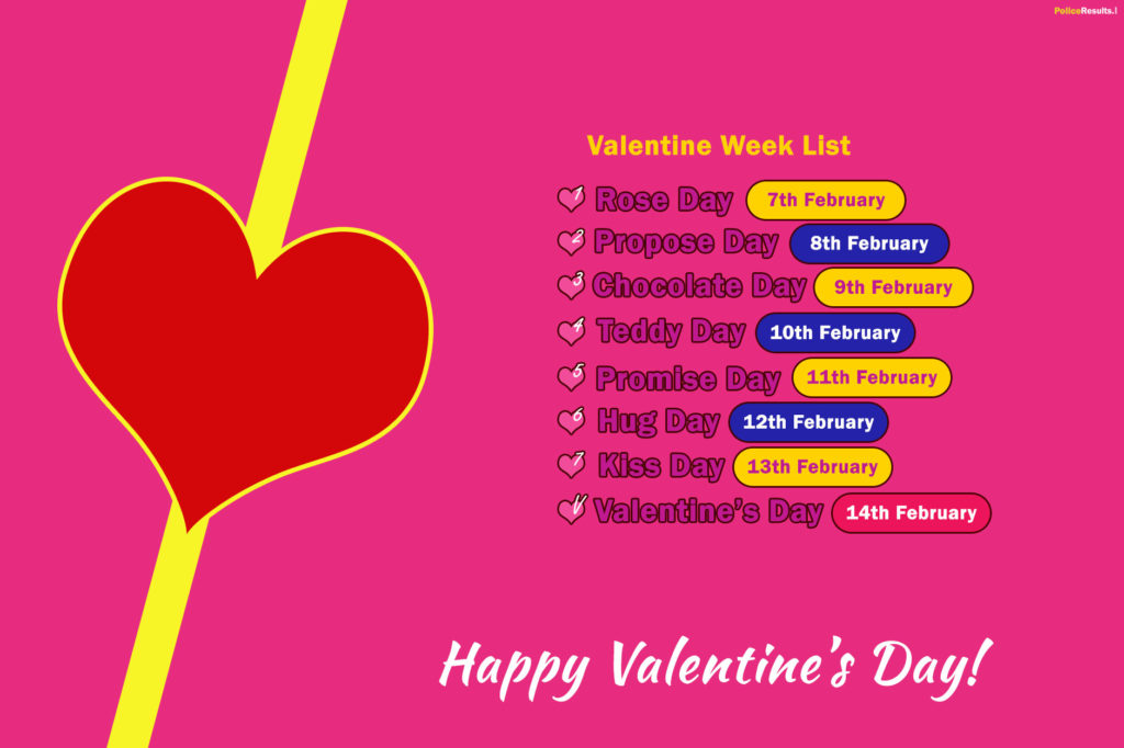 Valentine's Week Days List 2020, Calendar, Date Sheet of Rose, Propose, Chocolate, Promise, Teddy, Hug and Kiss Day